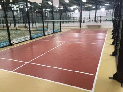 Construcción cancha de tenis de cemento, resina epóxi, pintura especial