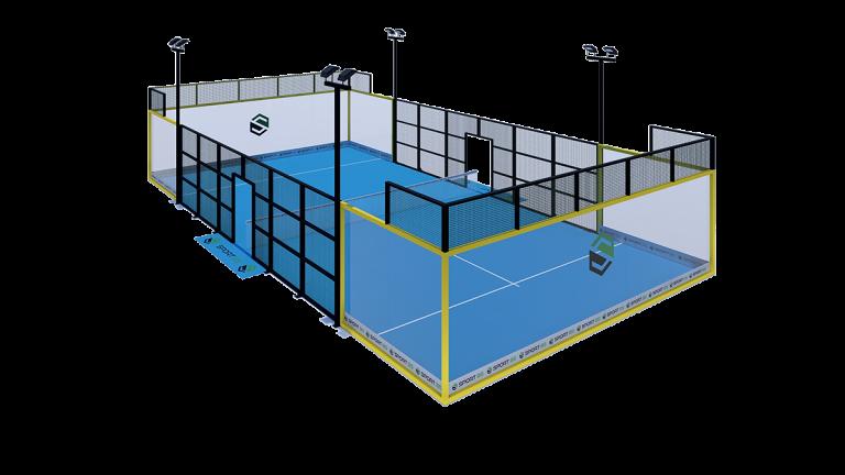 pista de pádel panorámica, pista padel panoramica precio, modelo panorámico 3x3, cancha panorámica de pádel, Panoramic Padel Court